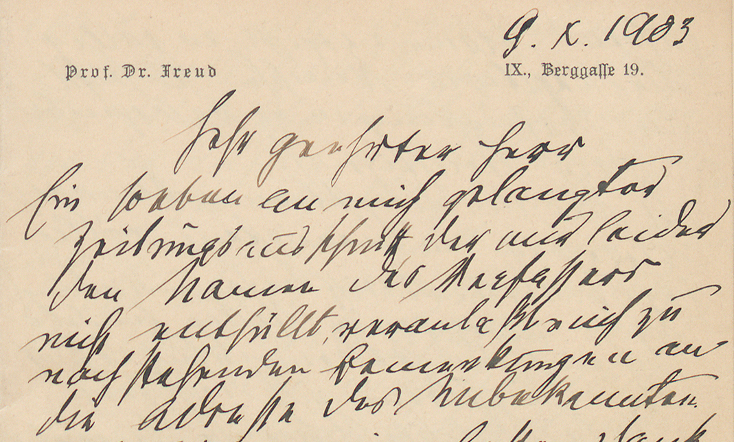 Brief von Sigmund Freud an Willy Hellpach, Nachlass Willy Hellpach, (Quelle: Landesarchiv BW, GLAK, N Hellpach 281 1)