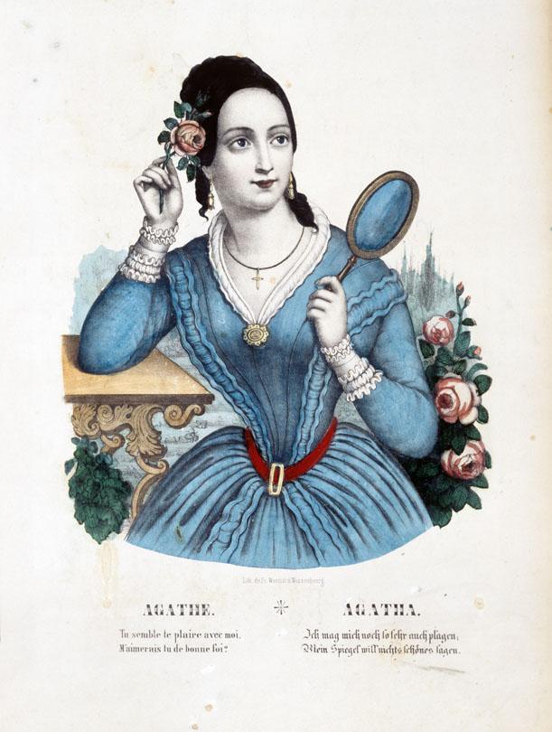 """Bilderbogen: """"Agathe"""", nach 1835 [Quelle: Badisches Landesmuseum Karlsruhe]"""