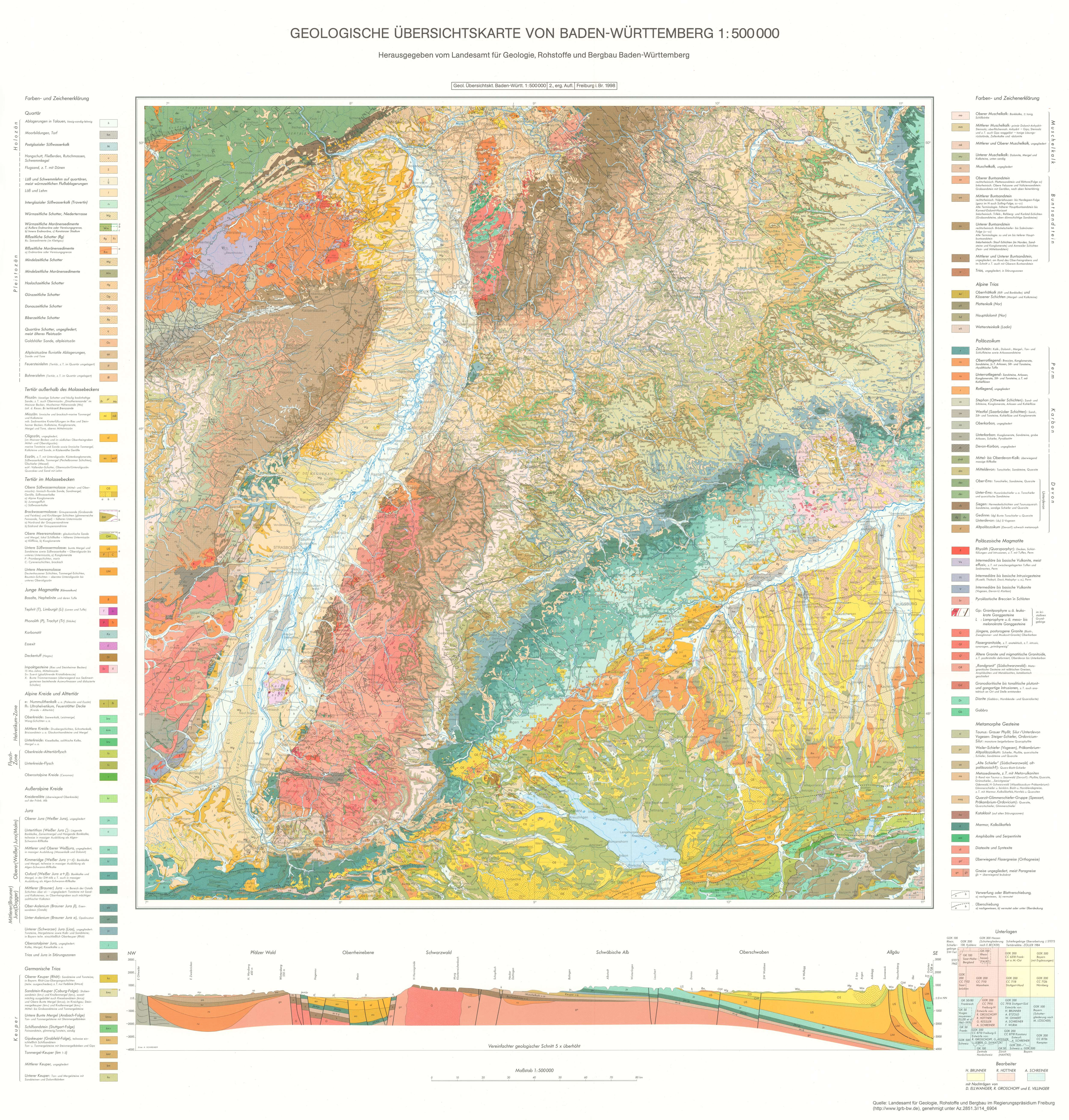 geologische karte baden württemberg Geologische Übersichtskarte von Süddeutschland   Detailseite   LEO BW geologische karte baden württemberg