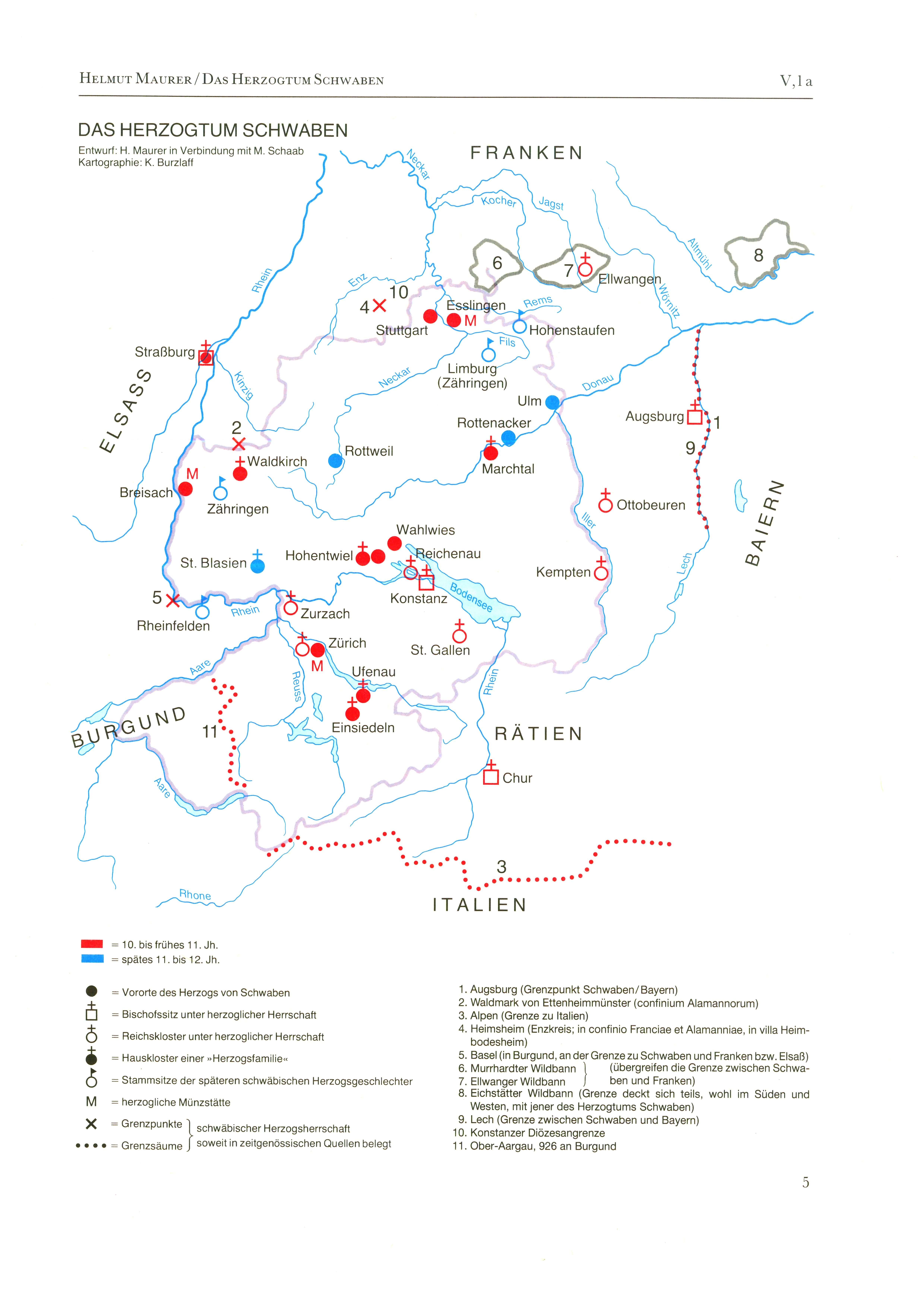 Schwaben Karte.Das Herzogtum Schwaben Detailseite Leo Bw