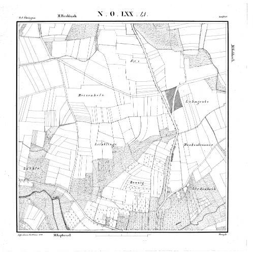 Kartenblatt NO LXX 41 Stand 1828 - Detailseite - LEO-BW