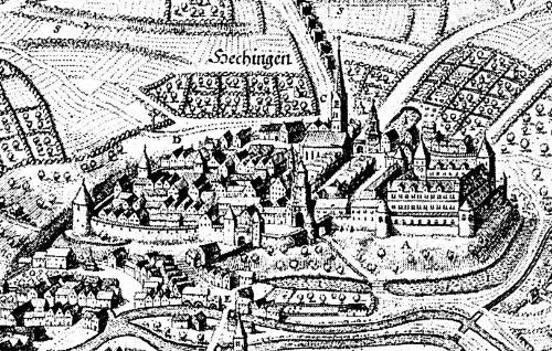 Das Chorherrenstift St. Jakob in Hechingen, 1643.