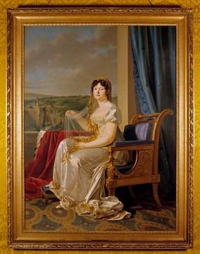 Königin Katharina von Westphalen, Empire Mode mit hoher Taille und erkenntlich griechischer Anleihe, um 1807 [Quelle: Landesmedienzentrum Baden-Württemberg]