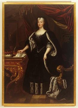 Markgräfin Franziska Sibylla Augusta von Baden in Hermelinumhang, anonym, um 1720 [Quelle: Landesmedienzentrum Baden-Württemberg]