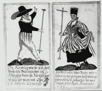 Ulmer Bauerntrachten, 1793 [Quelle: Landesmedienzentrum Baden-Württemberg]