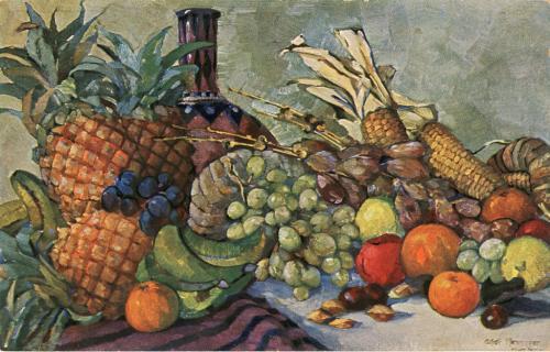 """Propaganda-Postkarte: """"Früchte aus unseren Kolonien. Ananas, Mango, Maiskolben, Weintrauben."""" nach einem Gemälde von Alfred Henninger, ca. 1914 - 1918 [Quelle: Badische Landesbibliothek Karlsruhe]"""