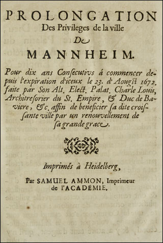 Prolongation Des Privileges de la ville De Mannheim